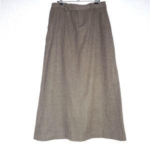 Eddie Bauer Herringbone Mid Calf Wool Skirt Brown